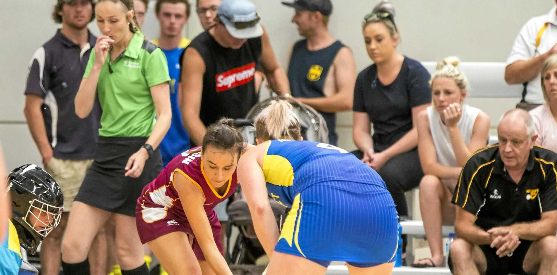 Maryborough's Eva Golusin in action for Queensland at the Australian Indoor Hockey Championships at Goulburn.