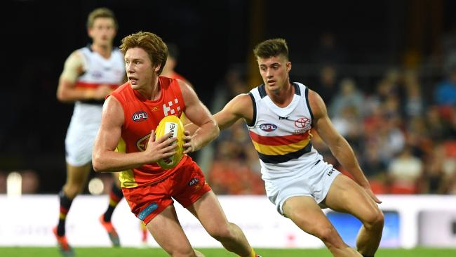 The Suns' Jesse Joyce in action against Adelaide Crows in round five. Picture: Dave Hunt/AAP