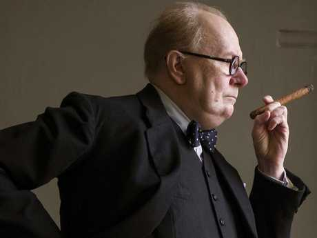 Gary Oldman is unrecognisable as PM Winston Churchill in Darkest Hour. The role has already scored the actor SAG and Golden Globe nominations. Picture: Universal Pictures
