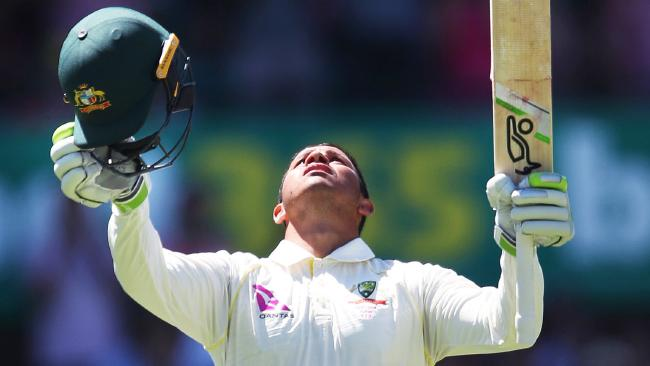 Australians Usman Khawaja celebrates his century during Day 3 of the 5th Ashes Test between Australia and England at the SCG. Picture. Phil Hillyard