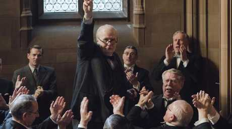 Churchill (Oldman) rallies support in a scene from Darkest Hour. Picture: Universal Pictures