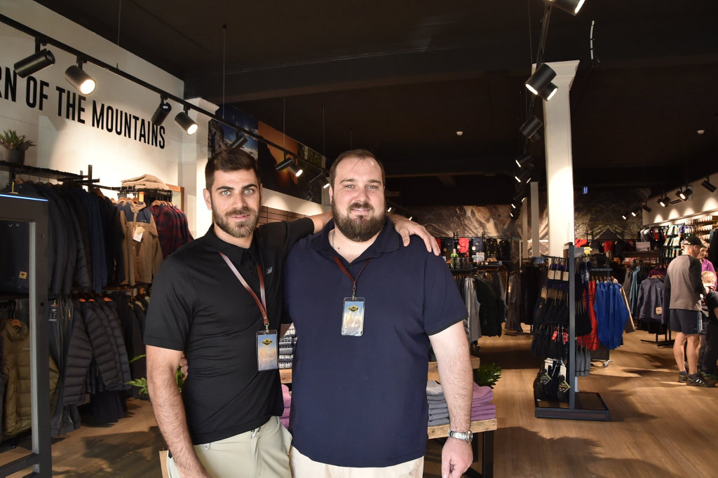 Mountain Designs Andy Curtis, store manager (left) and Josh Picone, assistant store manager.