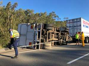 Highway lanes reopen after truck trailer rollover