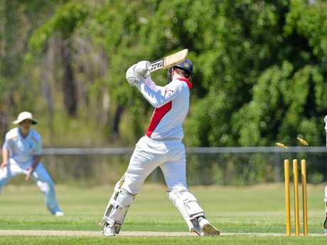Zane Robinson is bowled for four runs.