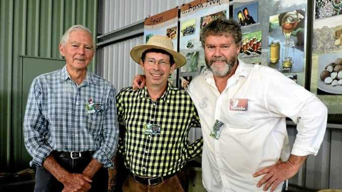 BEE PREPARED: Gympie apiarists and native bee enthusiasts Athol Craig (left) and Glenbo Craig (right) promote the cause with television gardening host Jerry Coleby-Williams, at the Gympie Garden Expo.