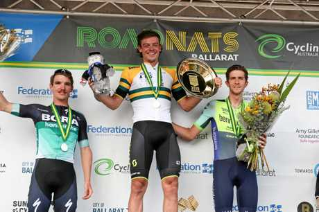 Ballarat, Australia - JANUARY 7: Winner Alex Edmondson (middle) Jay McCarthy 2nd (left) and Chris Harper 3rd (right) during the 2018 Feduni Cycling Australia Road National Championships, Elite Men,185.6km Road Race (16 x 11.6km laps) in Buninyong, Ballarat, Australia, on January 7, 2018. Photo Credit: CON CHRONIS