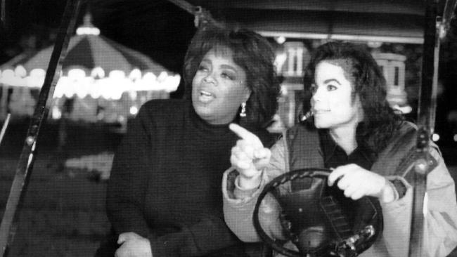 Oprah Winfrey and Michael Jackson at his ranch outside Los Olivos.