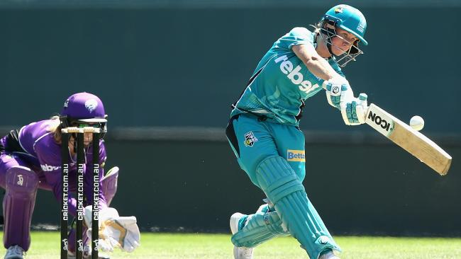 Beth Mooney of the Brisbane Heat plays a shot during the Women's Big Bash League match between the Brisbane Heat and the Hobart Hurricanes at Blundstone Arena.