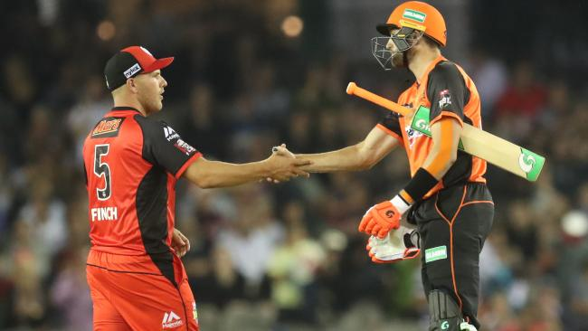 Aaron Finch shakes hands with Ashton Turner.