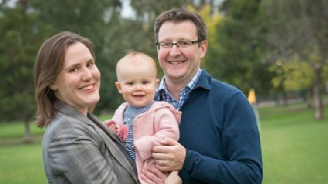 Kelly O'Dwyer and her investment banker husband Jon Mant with their daughter Olivia. Picture: Supplied