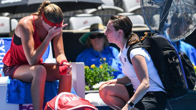 Kristina Mladenovic retires early from her match against Ellen Perez.