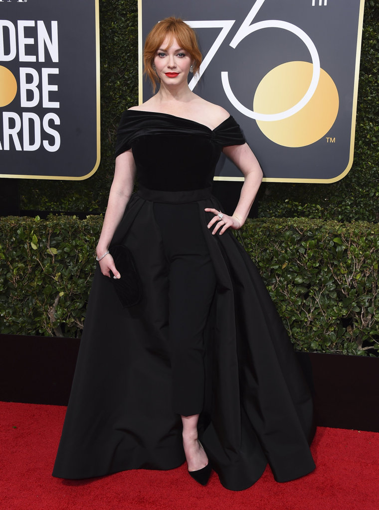 Christina Hendricks arrives at the 75th annual Golden Globe Awards at the Beverly Hilton Hotel in Beverly Hills, Calif.