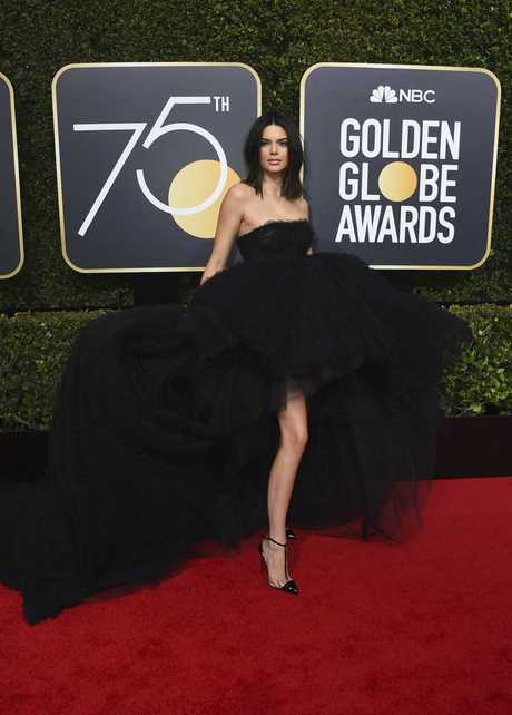 Kendall Jenner arrives at the 75th annual Golden Globe Awards at the Beverly Hilton Hotel on Sunday, Jan. 7, 2018, in Beverly Hills, Calif. (Photo by Jordan Strauss/Invision/AP)