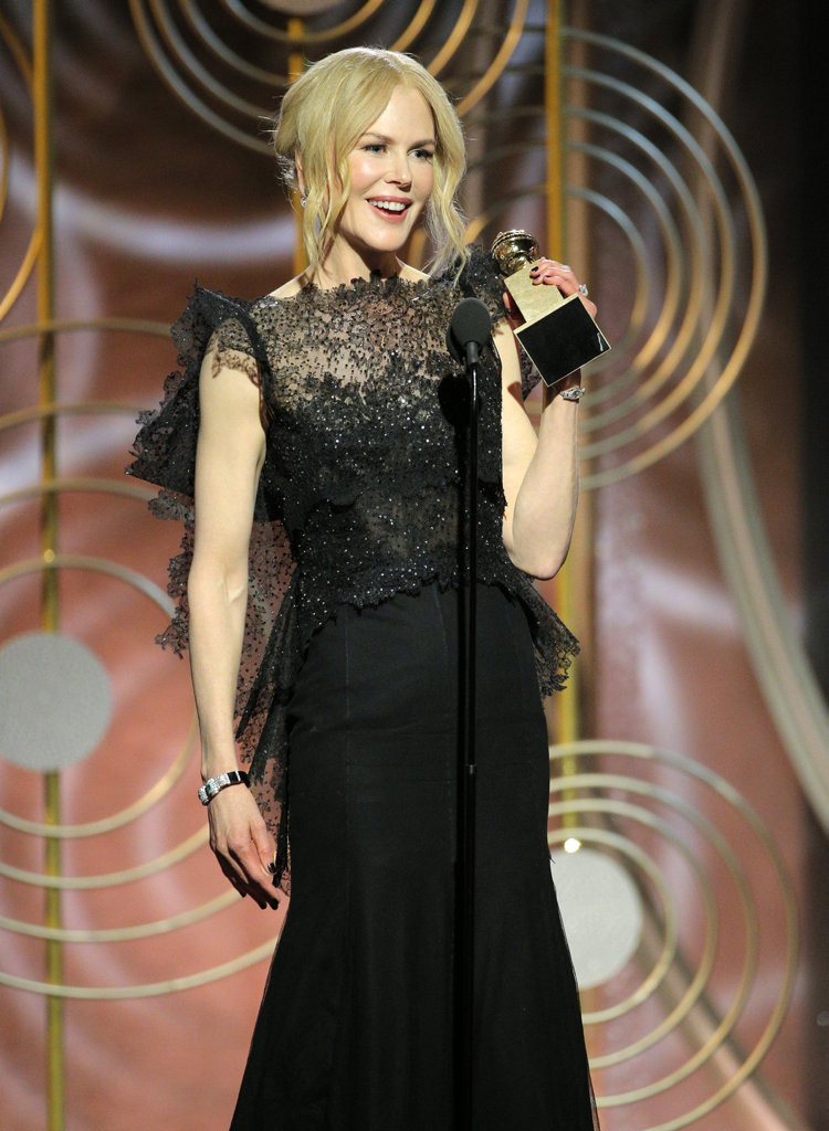 Nicole Kidman accepts the award for best performance by an actress in a limited series or motion picture made for TV for her role in Big Little Lies, at the 75th Annual Golden Globe Awards in Beverly Hills, Calif.