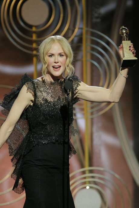 Nicole Kidman accepts the award for best performance by an actress in a limited series or motion picture made for TV for her role in