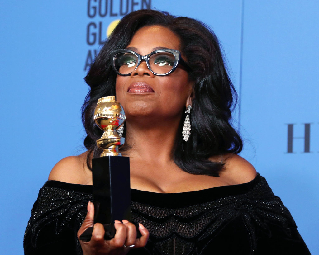 Oprah Winfrey holds the 2018 Golden Globe Cecil B. DeMille Award in the press room during the 75th annual Golden Globe Awards ceremony at the Beverly Hilton Hotel in Beverly Hills, California.