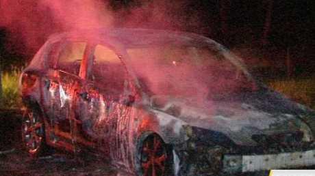 A car burst into flames on Murphys Creek Rd overnight.