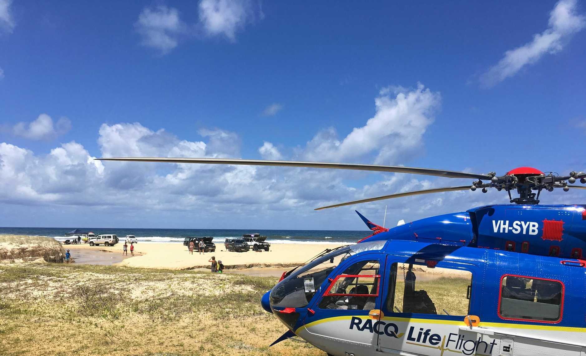 The Bundaberg based RACQ LifeFlight helicopter was tasked to Fraser Island several times at the weekend.