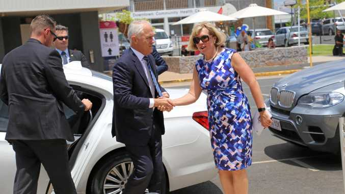 VIP VISIT: PM Malcolm Turnbull arrives at Lady Flo's funeral.
