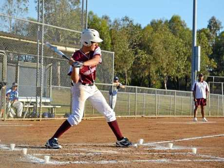 Josh Ferguson in action for the Queensland U17 Boys at the National Softball Championships in Blacktown.