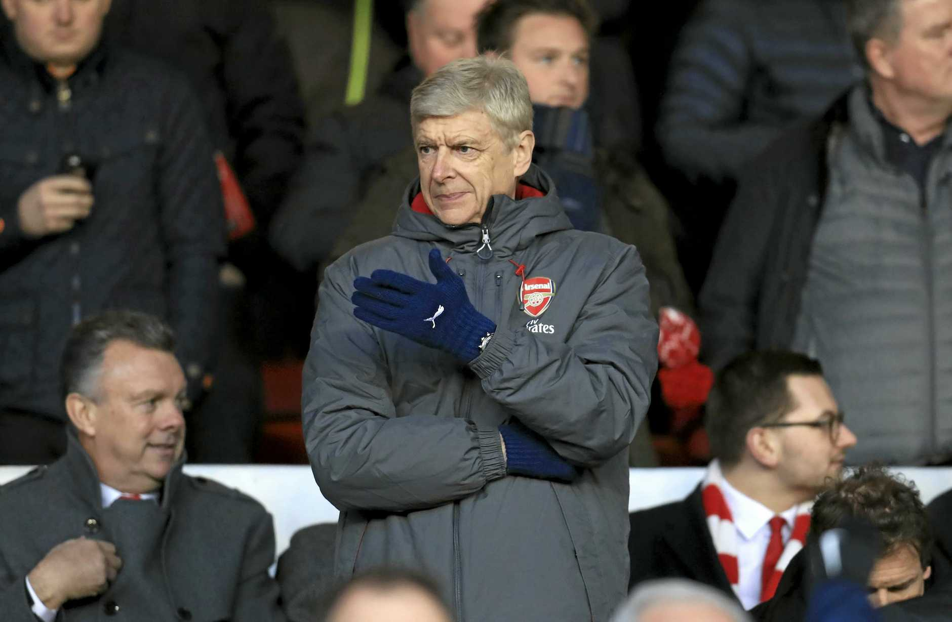 Arsenal manager Arsene Wenger gestures from the stands during the clash against Nottingham Forest.