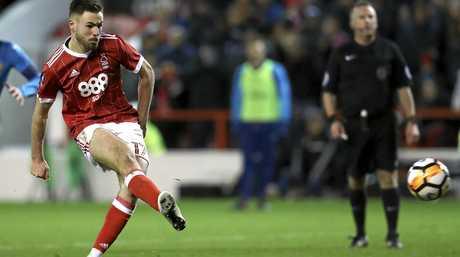 Ben Brereton scores Nottingham Forest's fourth goal against Arsenal.