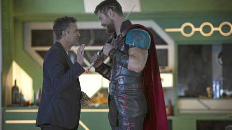 MATES: Mark Ruffalo and Chris Hemsworth in a scene from the movie Thor: Ragnarok. Supplied by Marvel.