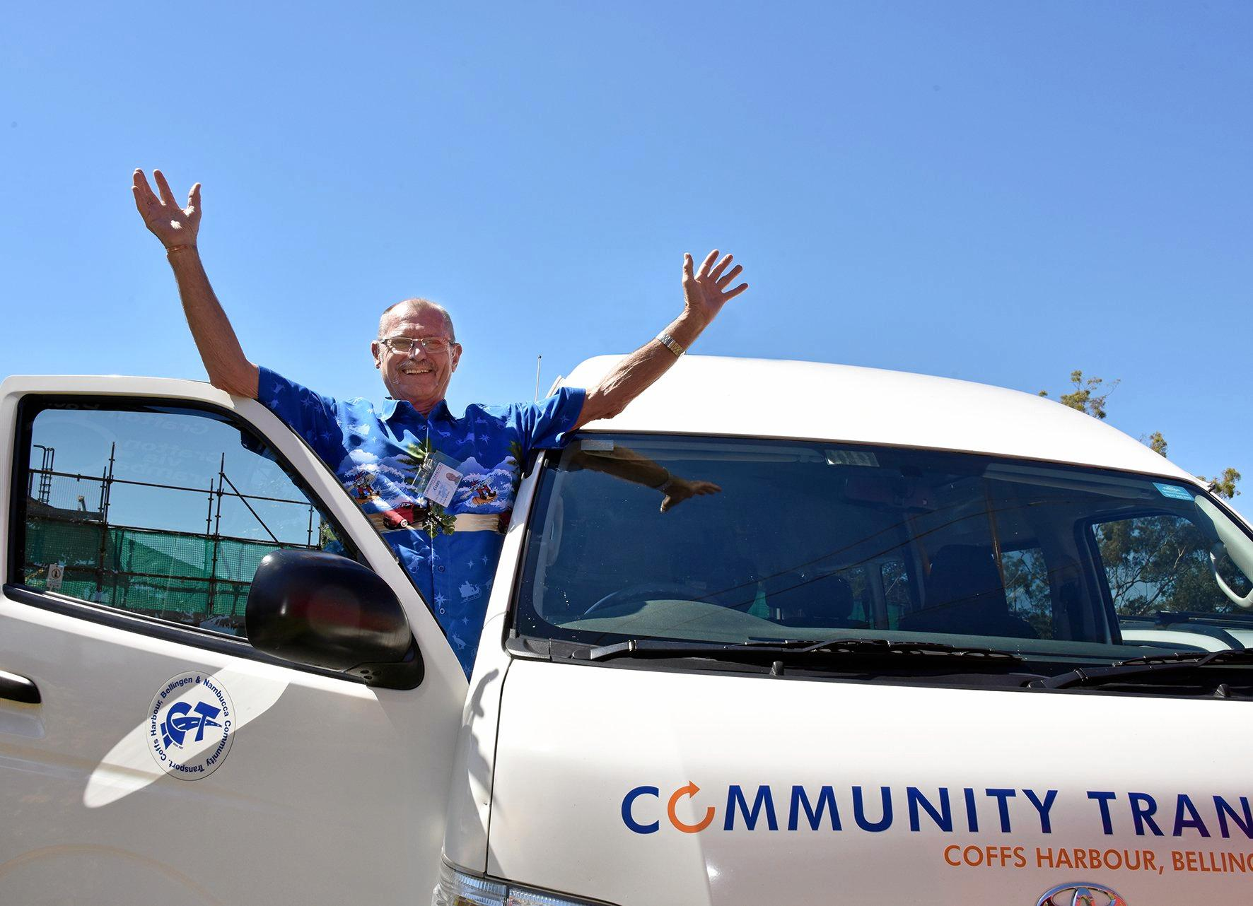 GET ONBOARD: Gary Murrell, volunteer with Community Transport is encouraging others to join the happy team.