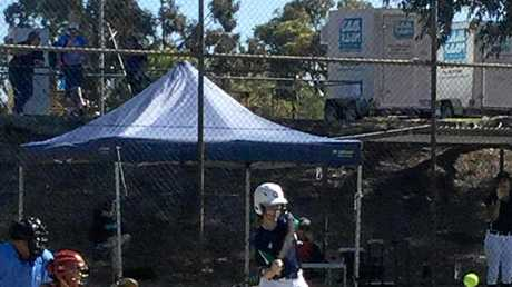 Gladstone's Kirsty Lester batting at the 2018 Under-15 girls National Softball Championships in Perth.
