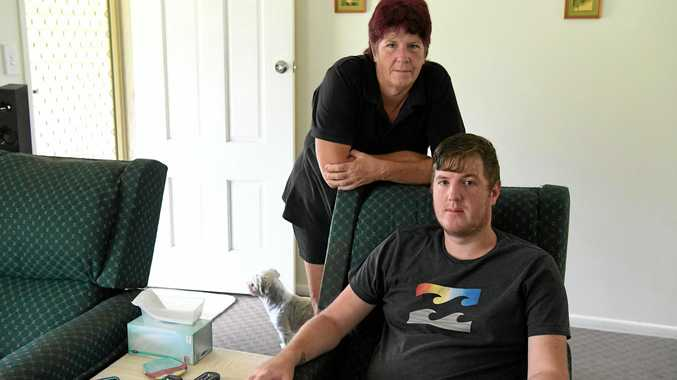 DISABILITY PENSION: Jenny Page with her son Luke Johnson.