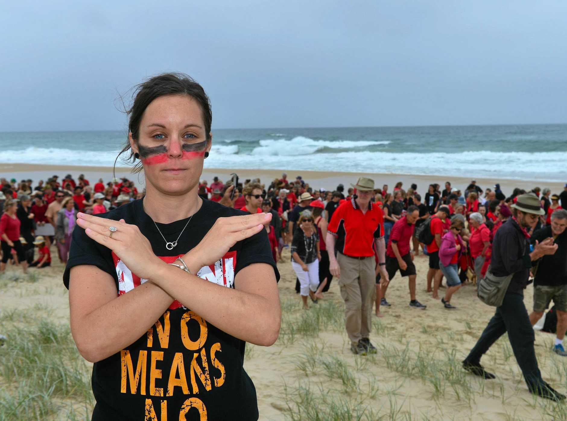 Stop Adani member Julie Reeves and Adani protesters at Peregian Beach.