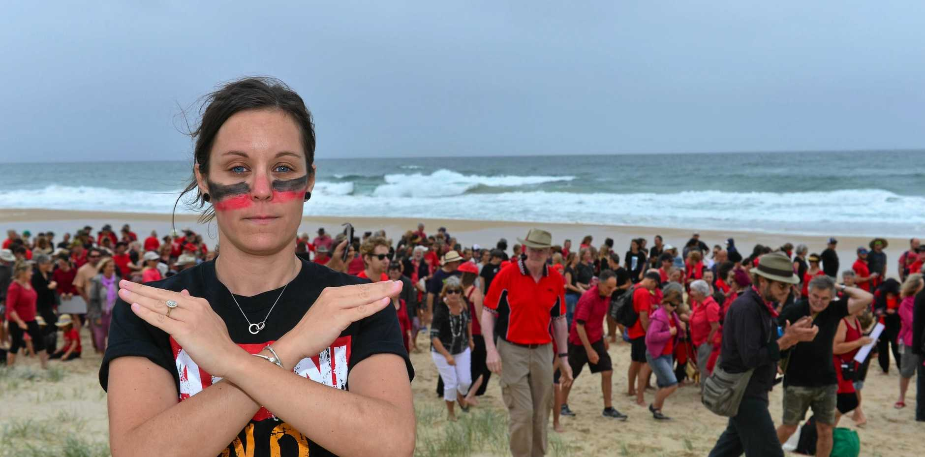 Stop Adani member Julie Reeves and Adani protesters at Peregian Beach.