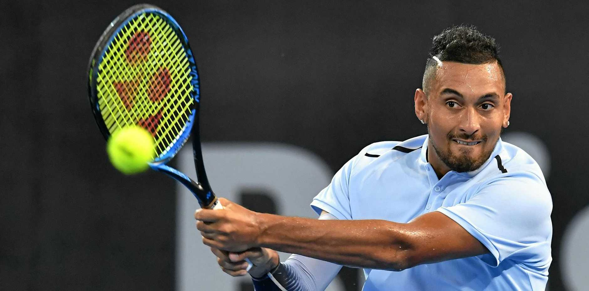 Nick Kyrgios on his way to winning the Brisbane International.