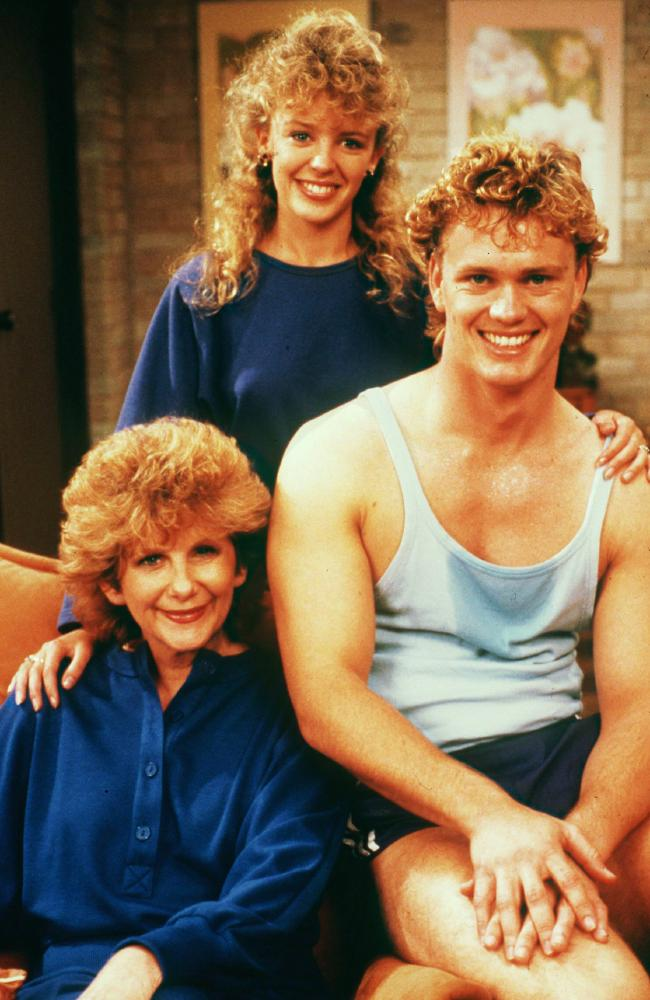 Craig McLachlan with Kylie Minogue and Anne Charleston in Neighbours in 1988. Picture: Supplied