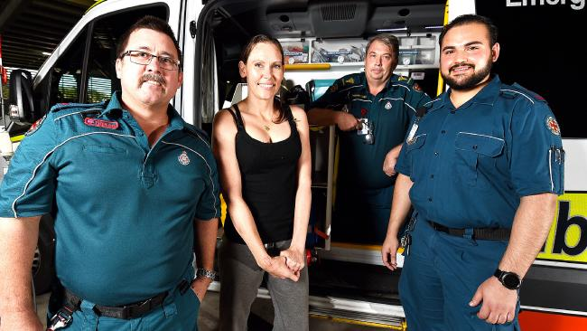 Ruby Hindom was involved in a serious pedestrian and vehicle incident in 2016, now reunited with the paramedics that saved her life. (L-R) Shane Douglas, Ruby Hindom, David Cole and Jitesh Rudhar