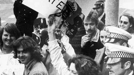 Right to March protester arrested in Oct 1977, Brisbane.