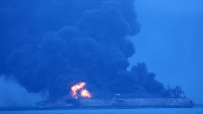 The Panamanian-flagged tanker Sanchi on fire after a collision with a cargo ship in the East China Sea