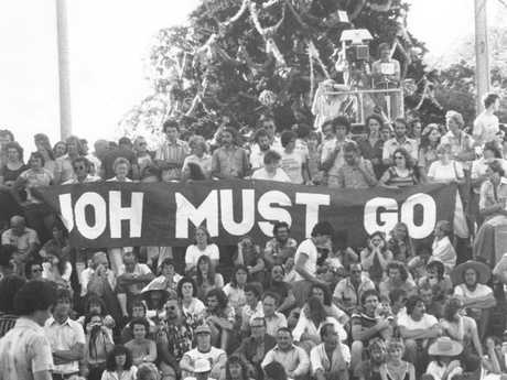 A 1978 right to march protest at King George Square, Brisbane. These protesters had to wait another ten years for Joh to exit. Picture: Courtesy Fryer Library