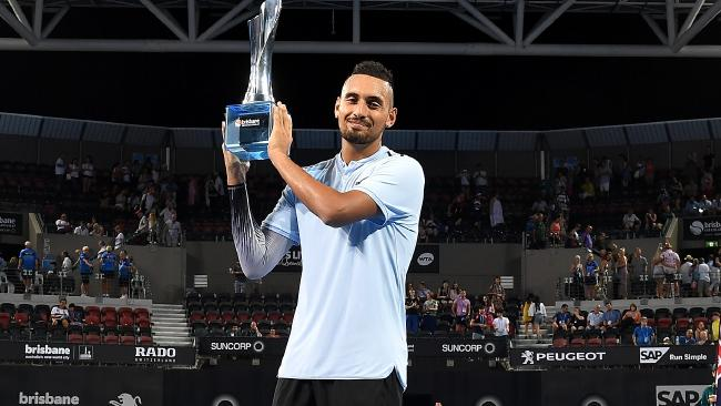 Nick Kyrgios with the Brisbane International trophy. Picture: Getty Images