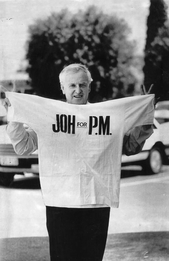 The 'Joh for PM' campaign was in full flight by the time he was challenged by Mike Ahern for the leadership in November 1987.