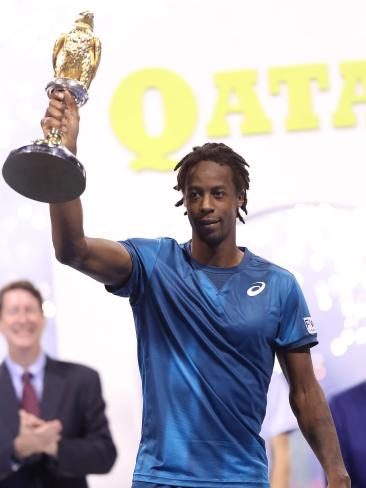 Frenchman Gael Monfils celebrates winning the Qatar Open. Picture: AFP Photo / Karim Jaafar