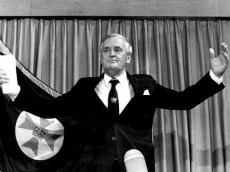 Queensland's longest-serving premier Sir Joh Bjelke-Petersen announces his retirement. Picture: Ted Holliday