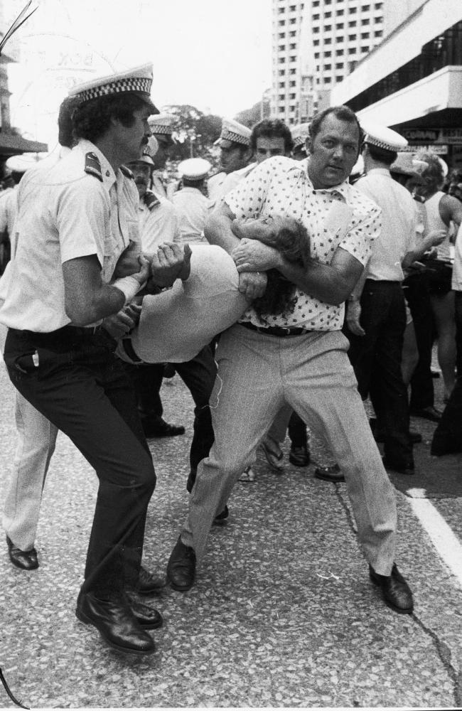 Queensland police arrest a demonstrator on December 2, 1977.
