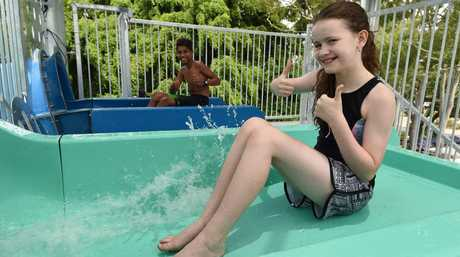 New waterslides at WetSide - Isaak Stanley,13, from Gympie and Jazmin Edmondstone,11, from Canberra about to test the new waterslides.
