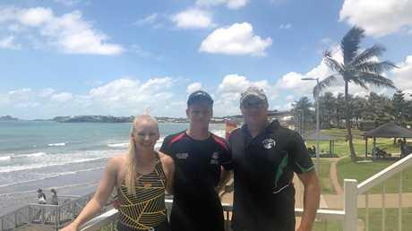 Britt Brymer, Zach Paskin and Currumbin Vikings Surf Life Saving Club captain Andrew McIntyre.