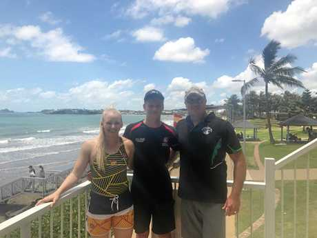 Britt Brymer, Zach Paskin and Currumbin Vikings Surf Life Saving Club captain Andrew McIntyre.
