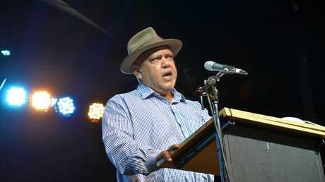 NOEL PEARSON: The Cape York community leader speaks at Woodford Folk Festival. Photo Kyle Zenchyson / Caboolture News