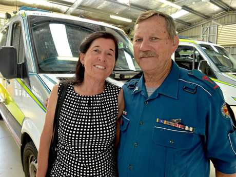 Farewell for paramedic Ron Alexander at the Nambour Station in February, 2016, at his retirement. Ron with his wife Christine.