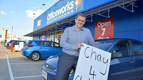 BUMPY START: Rockhampton's Chay Conaglen took on the battle for the seat of Gladstone. Chay's car broke down after he picked up some equipment to make election placards at Officeworks.