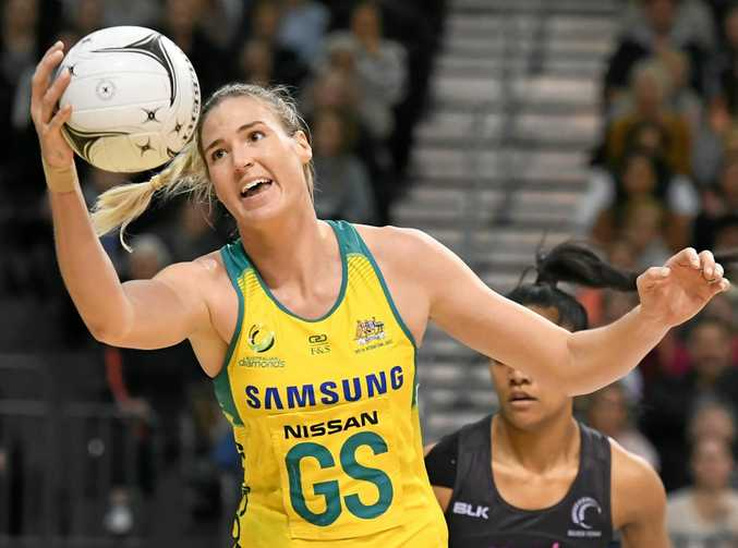 HECTIC SCHEDULE: Caitlin Bassett, pictured  in action during the netball Constellation Cup between the New Zealand Silver Ferns and Australian Diamonds, is gearing up for the upcoming Quad Series.